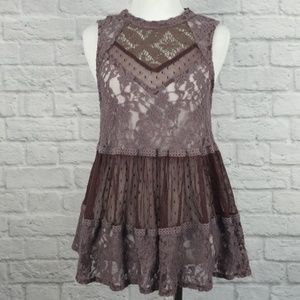 Free people dusky lilac lace tank small